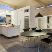 Lockwood show home Tauranga - White lacquered cabinetry architecture, ceiling, floor, flooring, furniture, interior design, kitchen, table, wood flooring, gray