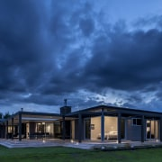 Lockwood Home built by Peter Richards - Lockwood architecture, atmosphere, cloud, cottage, estate, evening, facade, home, house, landscape, lighting, mansion, meteorological phenomenon, phenomenon, property, real estate, residential area, roof, sky, suburb, sunlight, blue