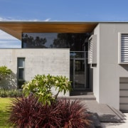 This house by Scott Architects has separate pavillions architecture, facade, home, house, property, real estate, window, gray