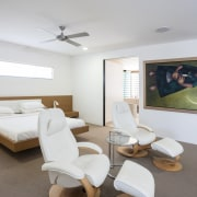 This house by Scott Architects has separate pavillions ceiling, interior design, living room, real estate, room, white