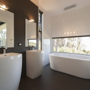 Large family spa like bathroom with double vanity. architecture, bathroom, home, interior design, plumbing fixture, property, real estate, room, window, gray, black