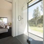 Modern Modular home with spa-like bathroom over looking architecture, bathroom, floor, glass, house, interior design, plumbing fixture, window, gray