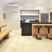 Yellowfox exterior and interior design project - Yellowfox countertop, floor, flooring, furniture, hardwood, interior design, kitchen, laminate flooring, real estate, room, table, tile, wood, wood flooring, white, orange