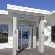 Able Aluminium has a range of joinery to architecture, elevation, facade, home, house, real estate, siding, window, gray, blue