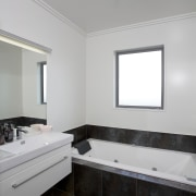 Palliside and Stoanz systems set off Stonewood home architecture, bathroom, daylighting, floor, home, interior design, real estate, room, sink, tile, gray