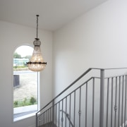 Resene Quarter Linen is one of more than architecture, baluster, ceiling, daylighting, floor, handrail, home, house, light fixture, product, stairs, wall, window, wood, gray