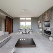 Contemporary home by Coast Papamoa - Contemporary home ceiling, floor, interior design, living room, room, gray