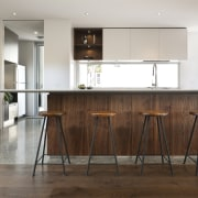 Contemporary open-plan family kitchen - Contemporary open-plan family cabinetry, countertop, cuisine classique, floor, flooring, furniture, hardwood, interior design, kitchen, laminate flooring, table, wood, wood flooring, white, brown