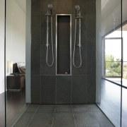 Architect Taras Wolf master bathroom - Architect Taras door, floor, flooring, interior design, real estate, black, white, gray