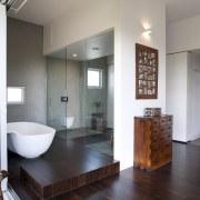 Architect Taras Wolf master bathroom - Architect Taras architecture, bathroom, ceiling, floor, flooring, interior design, real estate, room, gray
