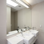 This master ensuite has been transformed as part architecture, bathroom, ceiling, daylighting, floor, interior design, product design, real estate, room, sink, tap, gray