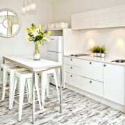 Soft neutrals and whites feature in the living countertop, cuisine classique, floor, flooring, furniture, home, interior design, kitchen, product design, table, white