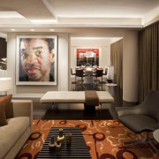 Contemporary apartment interiors dont have to be crisp, ceiling, interior design, living room, room, wall, brown