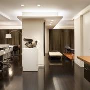 Contemporary apartment interiors dont have to be crisp, ceiling, countertop, floor, flooring, interior design, kitchen, room, gray