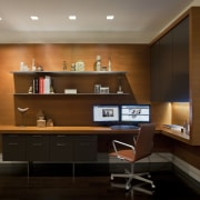 Contemporary apartment interiors dont have to be crisp, cabinetry, desk, furniture, interior design, office, shelf, shelving, wall, brown