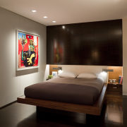 Contemporary apartment interiors dont have to be crisp, bedroom, ceiling, interior design, room, suite, wall, brown, black