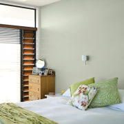You can replicate the feature wall with Resene architecture, bed frame, bedroom, ceiling, home, interior design, room, suite, wall, window, window covering, wood, gray