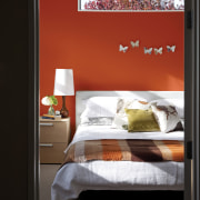 You can replicate the feature wall with Resene bed, bed frame, bedroom, furniture, home, interior design, room, window, black