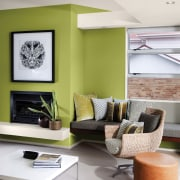 You can replicate the feature wall with Resene furniture, home, interior design, living room, product design, room, table, white
