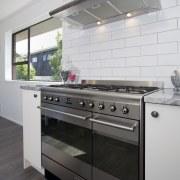 The owners chose a Smeg SUK92MX8 90cm range cabinetry, countertop, cuisine classique, home appliance, kitchen, kitchen appliance, kitchen stove, gray