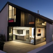 The Life at Home street of show homes architecture, building, elevation, facade, home, house, property, real estate, residential area, window, black