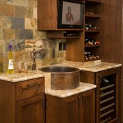 A large scullery boosts utility in this Richard cabinetry, countertop, cuisine classique, flooring, furniture, hardwood, interior design, kitchen, room, wood, wood stain, brown, red