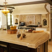Minimizing the ornate detailing in this Provençal-style kitchen cabinetry, countertop, cuisine classique, estate, interior design, kitchen, living room, room, orange