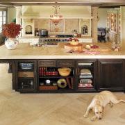 Minimizing the ornate detailing in this Provençal-style kitchen cabinetry, countertop, cuisine classique, floor, flooring, furniture, hardwood, interior design, kitchen, laminate flooring, room, table, wood, wood flooring, orange