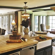 Dark wood beams in this Provencal-style kitchen relieve dining room, interior design, living room, room, brown