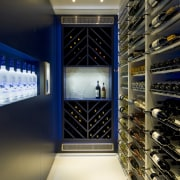 Behind one of the blue lacquered doors in ceiling, interior design, black