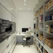 A hidden door leads to this walk-in pantry interior design, office, gray