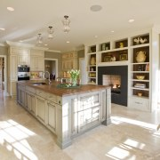Inviting family kitchen - by Rill Architects - cabinetry, ceiling, countertop, cuisine classique, estate, floor, flooring, hardwood, home, interior design, kitchen, living room, property, real estate, room, gray