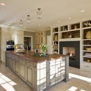 Inviting family kitchen - by Rill Architects - cabinetry, countertop, cuisine classique, floor, flooring, interior design, kitchen, gray, orange