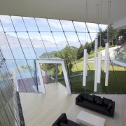 Off the edge  Queenstown glass pavilion Julian apartment, architecture, balcony, building, condominium, daylighting, handrail, house, interior design, property, real estate, window, gray