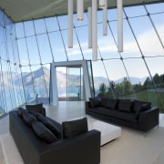 Off the edge  Queenstown glass pavilion Julian architecture, daylighting, house, interior design, real estate, structure, window, teal, gray