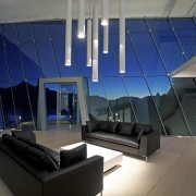 To maximise a spectacular lake and mountain view, architecture, ceiling, daylighting, interior design, lobby, real estate, blue, gray