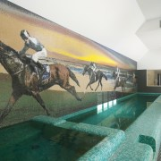 A custom mosaic tiled mural beside this indoor leisure, leisure centre, mural, property, swimming pool, white