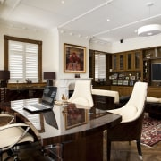 Designed as a masculine space, this gentlemans study ceiling, furniture, interior design, living room, real estate, room, white, brown