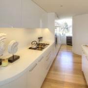 Extensive glazing in this penthouse apartment kitchen meant architecture, countertop, house, interior design, kitchen, product design, real estate, gray, orange