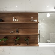 Light touch  penthouse bathroom remodel by Von cabinetry, furniture, interior design, shelf, shelving, wall, wood, gray, brown