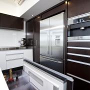 Modern penthouse kitchen - Modern penthouse kitchen - cabinetry, countertop, home appliance, interior design, kitchen, white, black