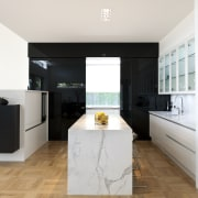 A black glass sliding door opens to a architecture, countertop, floor, flooring, interior design, kitchen, property, real estate, room, white