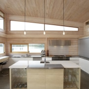 Irene James kitchen in Lockwood house - Irene architecture, cabinetry, ceiling, countertop, daylighting, floor, hardwood, home, house, interior design, kitchen, plywood, real estate, wood, gray, brown