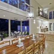 Tucked beneath a towering gum tree canopy, this ceiling, dining room, estate, home, interior design, living room, property, real estate, gray