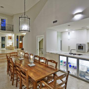 Tucked beneath a towering gum tree canopy, this countertop, interior design, kitchen, real estate, room, table, gray