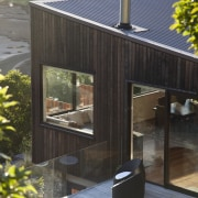 Optimising the outlook while not detracting from the architecture, home, house, outdoor structure, shed, black, gray