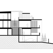 Situated on a small, steep block of land angle, architecture, area, black and white, building, design, diagram, drawing, elevation, facade, floor plan, font, house, line, plan, product design, rectangle, square, structure, text, white