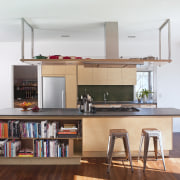 From a warm, long-grain birch design, to a cabinetry, countertop, furniture, interior design, kitchen, shelf, shelving, white