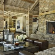 Rustic Surfaces Are Underpinned With Contemporary Touches In Beam, Ceiling,  Fireplace, Interior Design