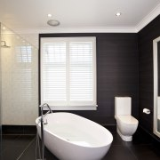 Traditional bathrooms by  Natalie Du Boi - bathroom, floor, home, interior design, room, tile, window, gray, black